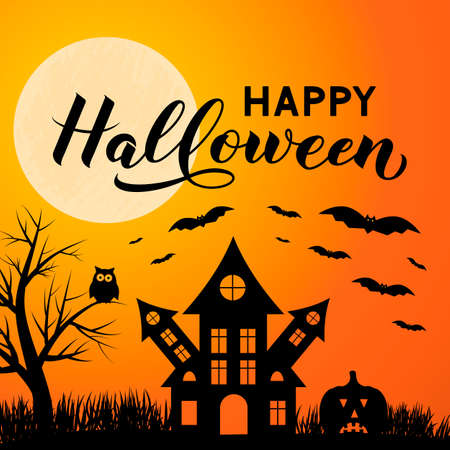 Halloween night vector illustration with Full moon Spooky Haunted House, owl, pumpkins, bats and calligraphy hand lettering. Easy to edit template for greeting card, banner, poster, party invitation.