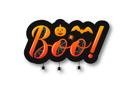 Boo hand lettering sticker with pumpkin, bat and spiders isolated on white. Easy to edit vector template for Halloween greeting card, banner, typography poster, party invitation, t-shirt, etc.