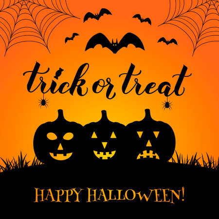 Trick or Treat Halloween quote hand lettering with pumpkins, bats, spiders and web. Easy to edit vector template for greeting card, banner, typography poster, party invitation, postcard, etc.