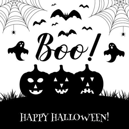 Boo hand lettering with cute cartoon ghosts, pumpkins, bats and spiders isolated on white. Vector template for Halloween greeting card, banner, typography poster, party invitation, t-shirt, etc.