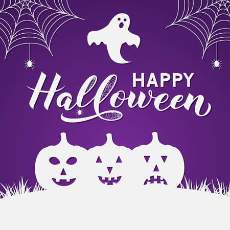 Happy Halloween calligraphy hand lettering with silhouette of pumpkin, spiders, ghosts and bats. Vector template in paper cut style for greeting card, banner, typography poster, party invitation, etc. Ilustração
