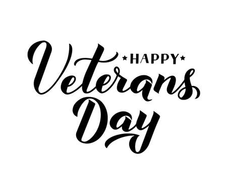 Happy Veterans Day calligraphy hand lettering isolated on white. American holiday typography poster. Easy to edit vector template for, banner, flyer, sticker, greeting card, postcard, t-short, etc.  イラスト・ベクター素材