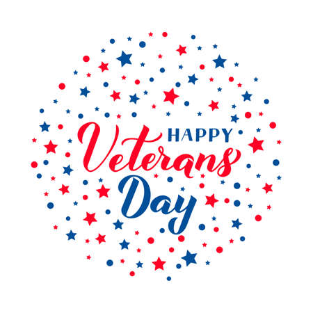 Happy Veterans Day calligraphy hand lettering with red and blue stars. American holiday banner. Easy to edit vector template for typography poster, flyer, sticker, greeting card, postcard, t-shirt.