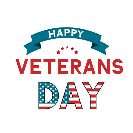 Happy Veterans Day calligraphy hand lettering with ribbon isolated on white. American holiday typography poster. Easy to edit vector template for, banner, flyer, t-shirt, greeting card, postcard.