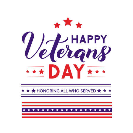Happy Veterans Day modern lettering isolated on white. American holiday banner. Easy to edit vector template for typography poster, flyer, sticker, greeting card, postcard, t-shirt, etc.
