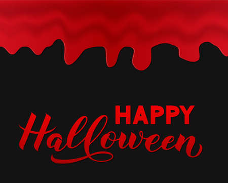 Happy Halloween calligraphy hand lettering with gripping blood. Easy to edit vector template for greeting card, banner, typography poster, party invitation, t-shirt, etc.