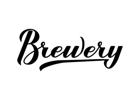 Brewery calligraphy hand lettering isolated on white background. Easy to edit vector template for bar, pub, brewing company logo design, banner, poster, flyer, badge, sticker, etc. Illusztráció