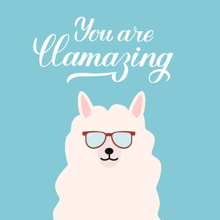 Cute cartoon alpaca with sunglasses and calligraphy hand lettering You are llamazing. Funny character fluffy alpaca. Vector template for typography poster, t-shirt, mug, case, greeting card. Ilustração