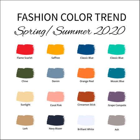 Moda Kolor Trend Wiosna Lato 2020. Przewodnik po modnych kolorach. Pociągnięcia pędzlem koloru farby z próbkami nazw. Łatwy do edycji szablon wektorowy do kreatywnych projektów.