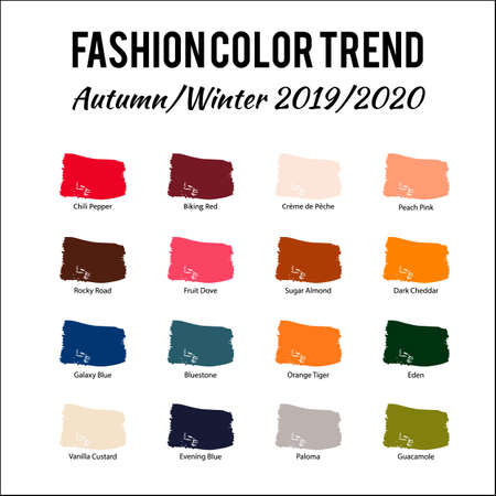 Fashion Color Trend Autumn Winter 2019 2020. Trendy colors palette guide. Brush strokes of paint color with names swatches. Easy to edit vector template for your creative designs. Illustration