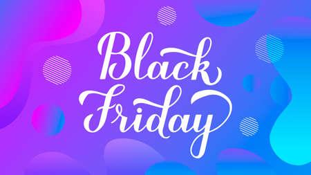 Black Friday calligraphy hand lettering on trendy gradient background. Seasonal shopping sign. Easy to edit vector template for logo design, advertising poster, web banner, flyer, etc. Çizim