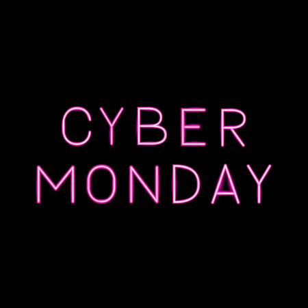 Cyber Monday hot pink realistic neon sign on black background. Online shopping web banner. Easy to edit vector template for logo design, advertising poster, flyer, etc.