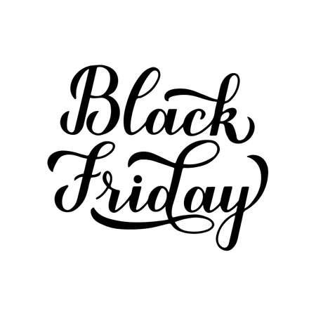 Black Friday modern brush calligraphy hand lettering isolated on white background. Seasonal shopping sign. Easy to edit vector template for logo design, advertising poster, banner, flyer, etc.
