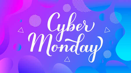 Cyber Monday calligraphy hand lettering on trendy gradient background. Seasonal shopping sign. Easy to edit vector template for logo design, advertising poster, web banner, flyer, etc. Stok Fotoğraf - 133781969