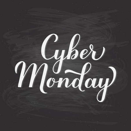 Cyber Monday calligraphy hand lettering on chalkboard background. Seasonal shopping sign. Easy to edit vector template for logo design, advertising poster, banner, flyer, etc. Çizim