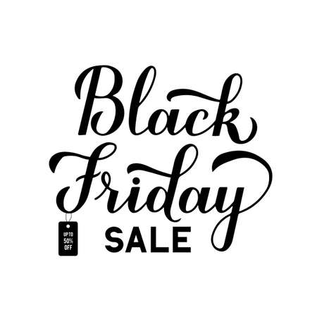 Black Friday Sale calligraphy hand lettering isolated on white background. Seasonal shopping sign. Easy to edit vector template for logo design, advertising poster, banner, flyer, etc. Stok Fotoğraf - 133781972