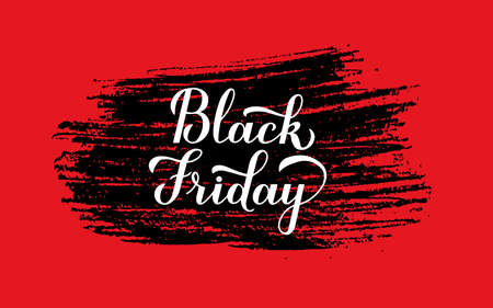 Black Friday calligraphy hand lettering with brush stroke on red background. Seasonal shopping sign. Easy to edit vector template for logo design, advertising poster, banner, flyer, etc.