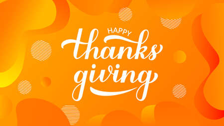 Happy Thanksgiving modern calligraphy hand lettering on trendy gradient background. Easy to edit vector template for greeting card, typography poster, banner, flyer, sticker, t-shirt, mug, etc.