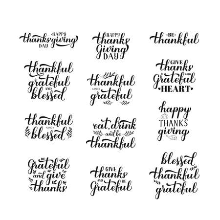 Thanksgiving Day hand drawn lettering set. Easy to edit vector template for greeting card, typography poster, logo design, invitation, banner, flyer, social media, sticker, mug, t-shirt, etc.