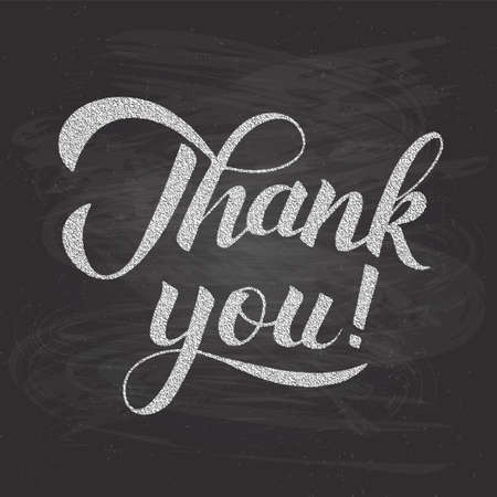 Thank you calligraphy hand lettering on chalkboard background. Grunge vector illustration. Easy to edit template for wedding thank you cards, tags, banners, posters, labels, etc.
