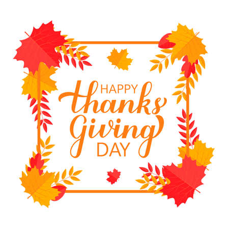 Happy Thanksgiving Day modern calligraphy brush lettering with colorful fall leaves and frame. Easy to edit vector template for greeting card, typography poster, banner, flyer, sticker, t-shirt. Illusztráció