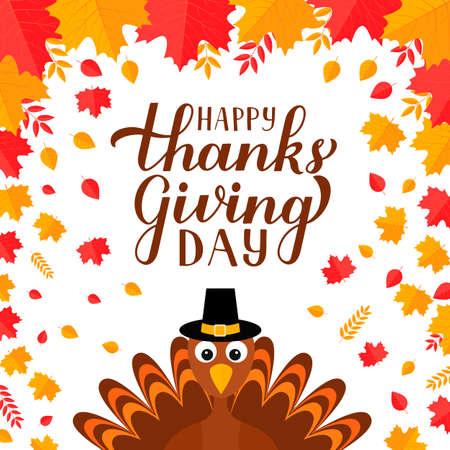 Happy Thanksgiving Day modern calligraphy brush lettering with cute cartoon turkey and colorful fall leaves. Easy to edit vector template for greeting card, typography poster, banner, flyer, sticker.