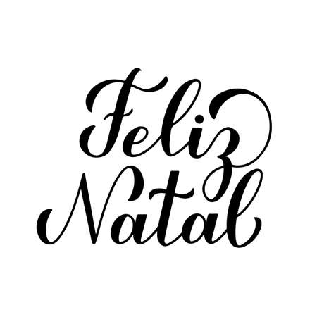 Feliz Natal calligraphy hand lettering isolated on white. Merry Christmas typography poster in Portuguese. Easy to edit vector template for greeting card, banner, flyer, sticker, etc.
