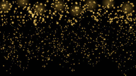 Golden glitter particles on black background. Lights flare abstract vector illustration. Explosion sparkle in space. Luxury backdrop for Christmas or New Year designs.