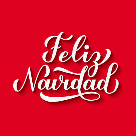 Feliz Navidad calligraphy hand lettering with shadow on red background. Merry Christmas typography poster in Spanish. Easy to edit vector template for greeting card, banner, flyer, invitation, etc.