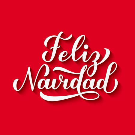 Letras de mano de caligrafía Feliz Navidad con sombra sobre fondo rojo. Cartel tipográfico Feliz Navidad en español. Plantilla vectorial fácil de editar para tarjetas de felicitación, pancartas, folletos, invitaciones, etc.
