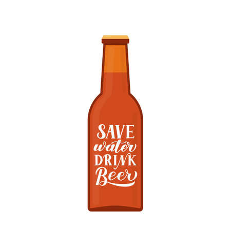 Save water drink beer hand lettering written on bottle. Drinking quote typography poster. Funny slogan for brewery or pub. Vector template for logo design, banner, flyer, bar menu, t-shirt, etc.
