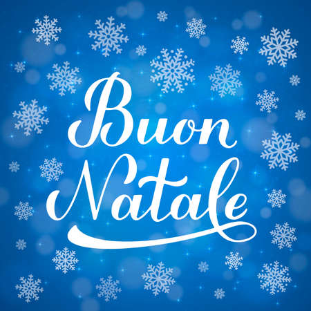 Buon Natale calligraphy hand lettering on blue background with bokeh and snowflakes. Merry Christmas typography poster in Italian. Easy to edit vector template for greeting card, banner, flyer, etc. Ilustração
