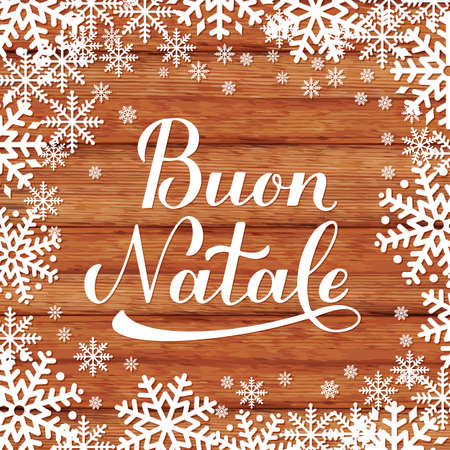 Buon Natale calligraphy hand lettering on wooden background with snowflakes. Merry Christmas typography poster in Italian. Easy to edit vector template for greeting card, banner, flyer, etc.
