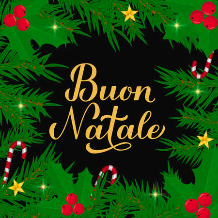 Buon Natale calligraphy hand lettering with fir tree branches. Merry Christmas typography poster in Italian. Easy to edit vector template for greeting card, banner, flyer, etc.