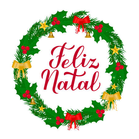 Feliz Natal calligraphy hand lettering with wreath of fir tree branches. Merry Christmas typography poster in Portuguese. Vector template for greeting card, banner, flyer, etc. Vektorové ilustrace