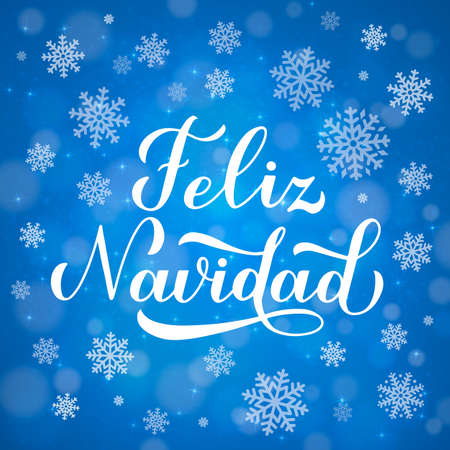 Feliz Navidad calligraphy hand lettering on blue background with bokeh and snowflakes. Merry Christmas typography poster in Spanish. Easy to edit vector template for greeting card, banner, flyer, etc. Ilustração