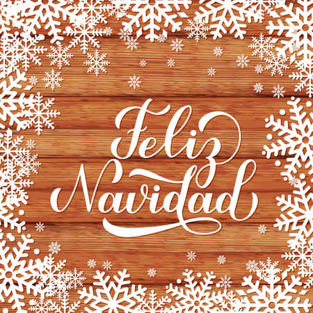 Feliz Navidad calligraphy hand lettering on wood background with snowflakes. Merry Christmas typography poster in Spanish. Easy to edit vector template for greeting card, banner, flyer, postcard.