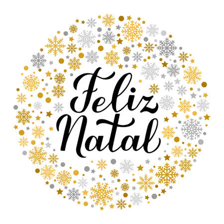 Feliz Natal calligraphy hand lettering with gold and silver snowflakes, stars and dots. Merry Christmas typography poster in Portuguese. Vector template for greeting card, banner, flyer, sticker, etc.