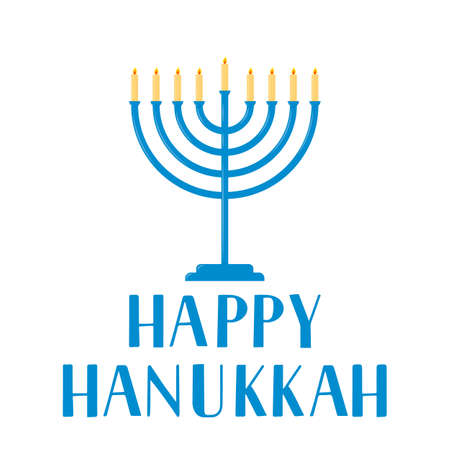 Happy Hanukkah hand lettering with Menorah candle isolated on white. Jewish holiday Festival of Lights. Vector template for banner, typography poster, greeting card, invitation, flyer, t-shirt, etc.