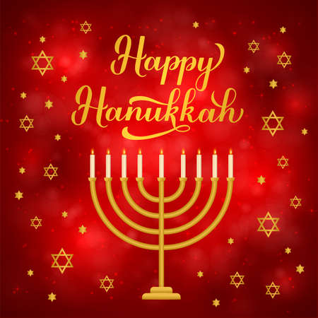 Happy Hanukkah calligraphy lettering and gold stars of David and menorah candle on Red background. Jewish holiday Festival of Lights. Vector template for banner, poster, greeting card, flyer, postcard