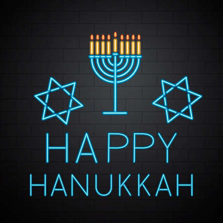 Happy Hanukkah neon banner with lettering and Menorah candle on brick wall background. Jewish holiday Festival of Lights. Easy to edit vector template for greeting card, poster, invitation, flyer.