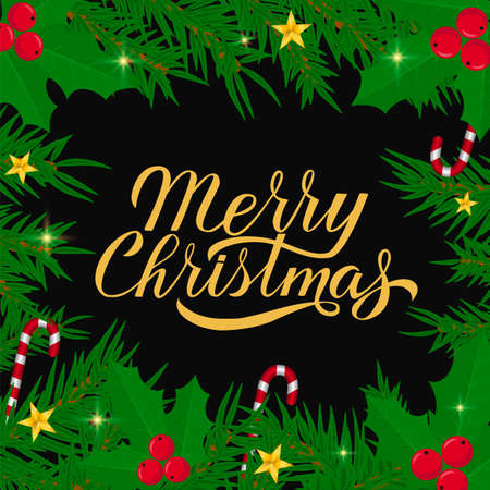 Merry Christmas calligraphy hand lettering with fir tree branches. Winter holidays typography poster. Easy to edit vector template for greeting card, banner, flyer, sticker, etc.