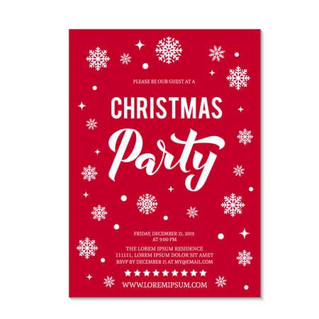 Weihnachtsfeiereinladung mit Schriftzug und weißen Schneeflocken und Punkten auf rotem Grund. Winterferienfeier laden ein. Einfach zu bearbeitende Vektorvorlage. Vektorgrafik