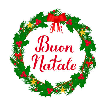 Buon Natale calligraphy hand lettering with wreath of fir tree branches. Merry Christmas typography poster in Italian. Easy to edit vector template for greeting card, banner, flyer, etc.
