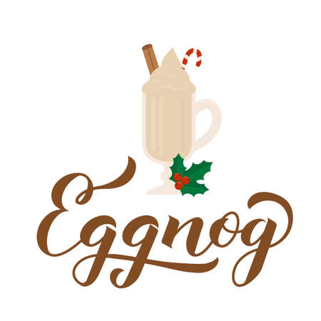 Eggnog calligraphy hand lettering and glass of traditional Christmas drink isolated on white. Vector template for logo design, banner, poster, flyer, sticker, menu for bar, cafe, restaurant.