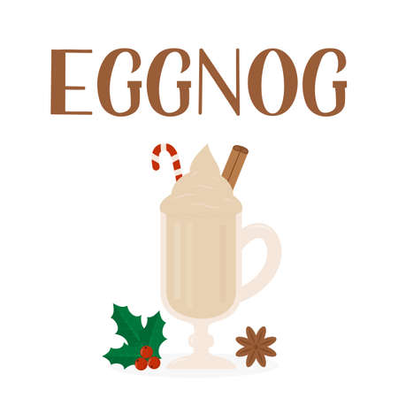 Eggnog hand lettering and glass of traditional Christmas drink isolated on white. Vector template for logo design, poster, banner, flyer, sticker, menu for bar, cafe, restaurant. Ilustracja