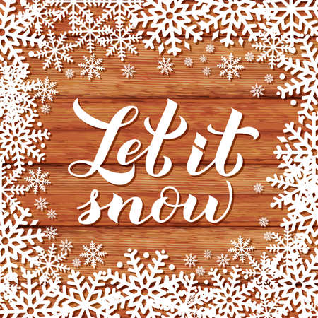 Let is snow calligraphy hand lettering on wood background with snowflakes. Christmas, New Year and winter holidays typography poster. Vector template for greeting card, banner, flyer, postcard. Ilustracja