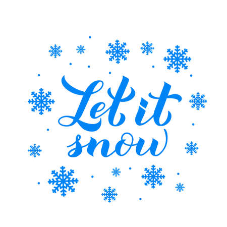 Let is snow calligraphy hand lettering isolated on white. Christmas, Happy New Year and winter holidays typography poster. Easy to edit vector template for greeting card, banner, flyer, postcard. Ilustracja