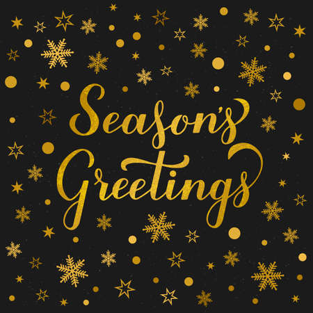 Season s Greetings glitter textured lettering gold snowflakes, stars and dots on black background. Christmas and New Year typography poster. Vector template for greeting card, banner, flyer, etc.