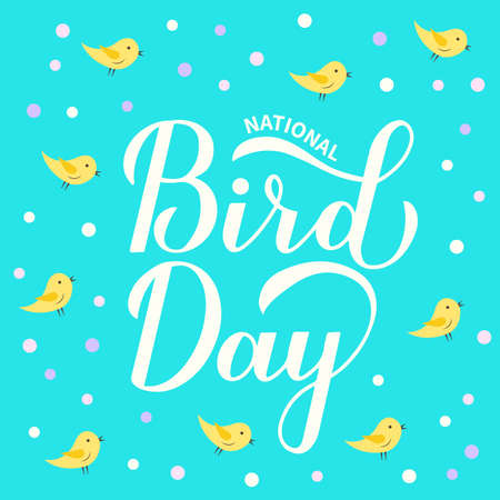 National Bird Day greeting card for bird lovers. Easy to edit vector template for design, banner, typography poster, flyer, sticker, etc. 向量圖像